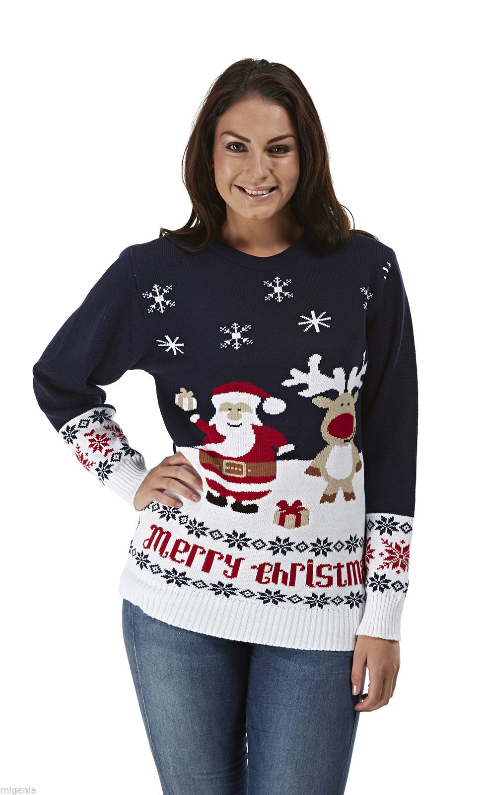 photos officielles 42501 ac231 Pull de Noël Femme- Père Noël et Rudolph Avec Cadeaux - Pulldenoel.fr