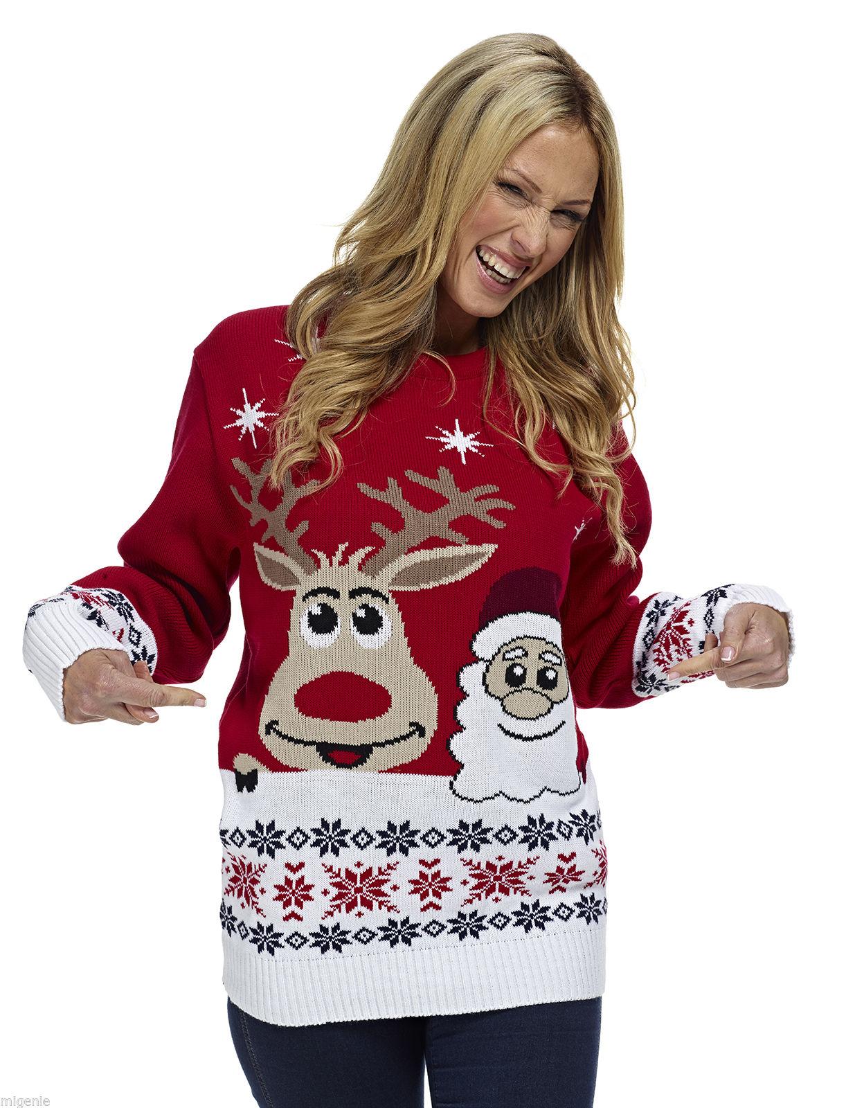 design de qualité 46dde 803c2 Pull de Noël - Rudolph et Père Noël rouge - Pull de Noël femme